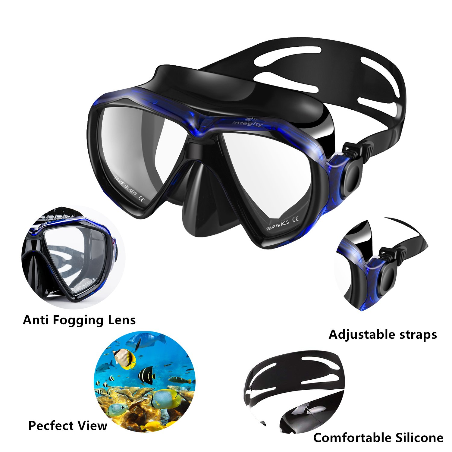 integity Snorkel Set Anti-Fog Snorkel Mask Impact Resistant Panoramic Tempered Glass,Innovative Water-Air Separated Anti-Leak Dry Snorkel Set,Free Breathing Diving Mask Adjustable Straps Youth Adult