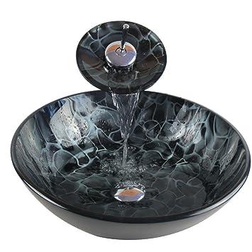 Bathroom Modern Glass Vessel Sink Faucet Pop Up Drain Combo Black ...