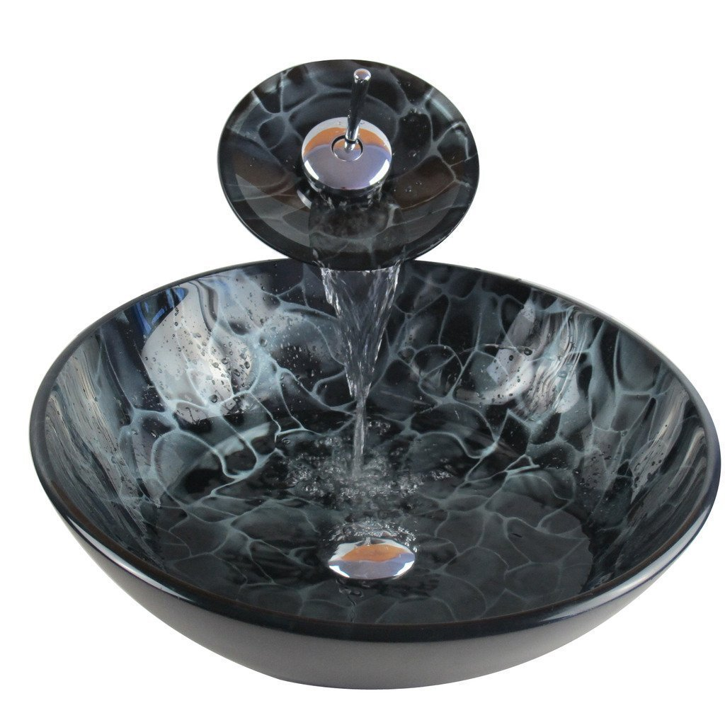 Bathroom Modern Glass Vessel Sink Faucet Pop Up Drain Combo Black by Waiting Home