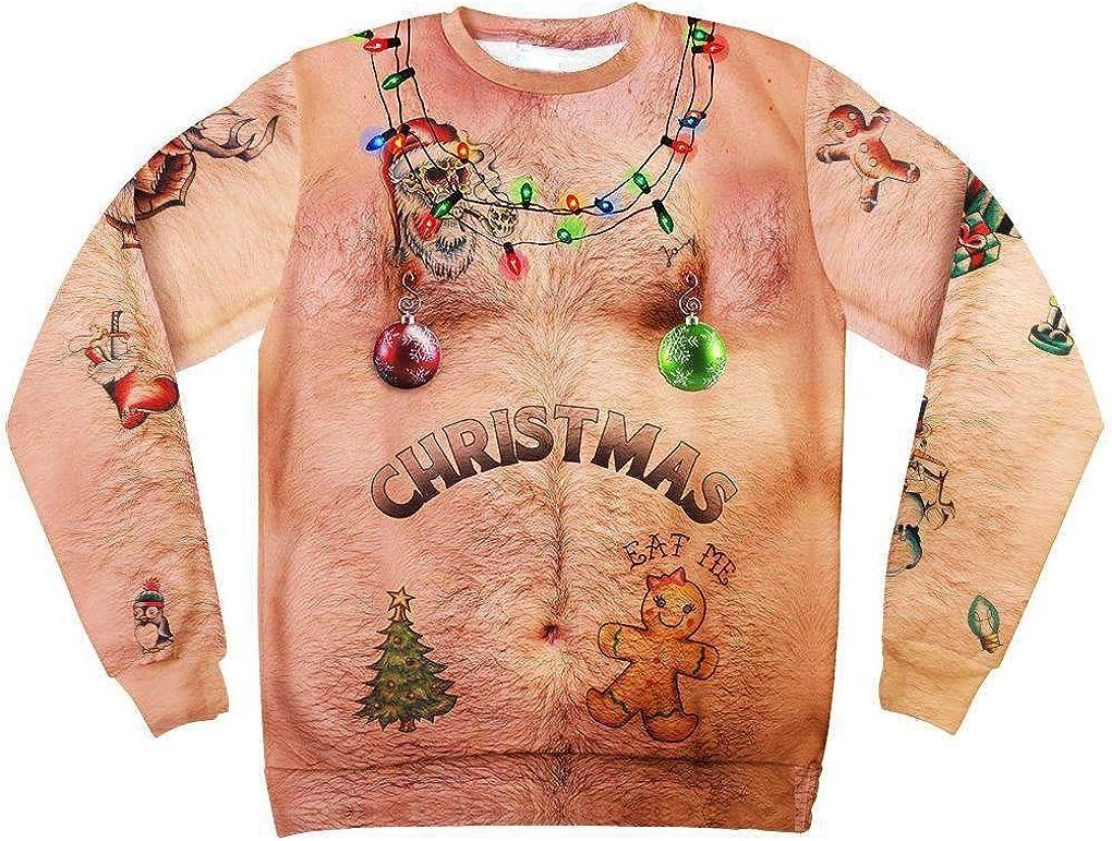 Mens Funny Sweatshirt Christmas Sweater 3D Print Long Sleeve Crewneck Novelty Pullover Shirt