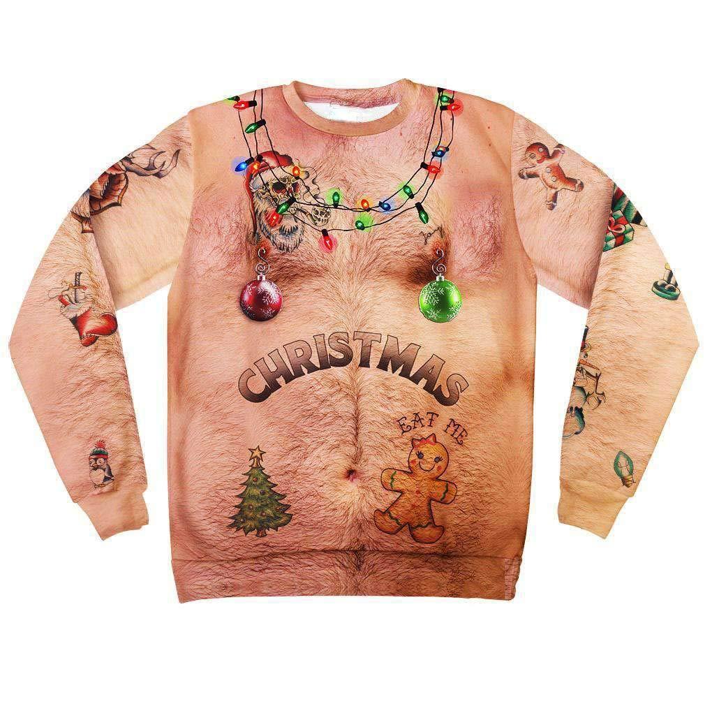 Ximandi Men Funny Christmas T Shirt 3D Print Long Sleeve Crew Neck Pullover