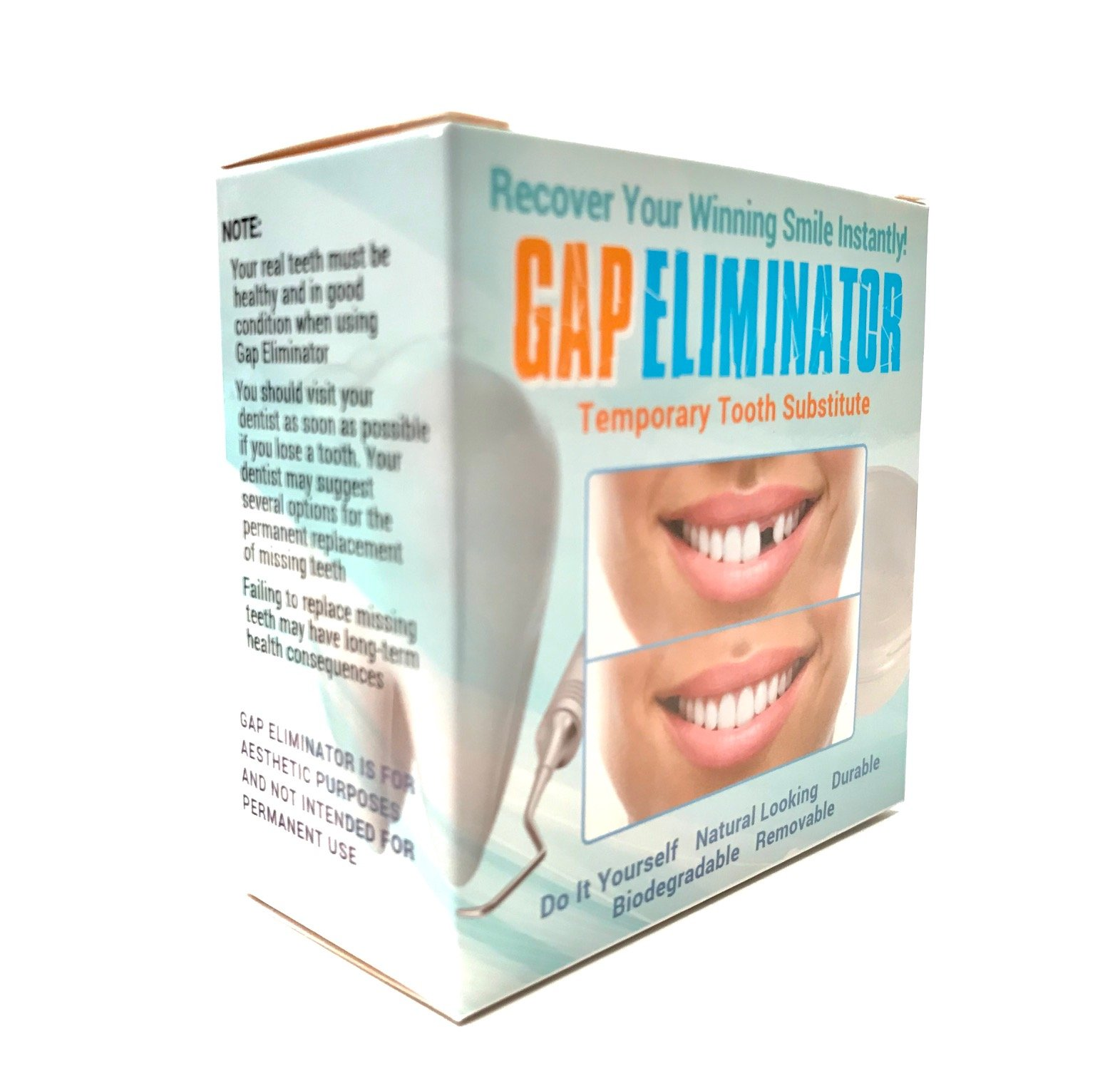 Do It Yourself Gap Eliminator Temporary Tooth Substitute With Sculpting Tool by Gap Eliminator