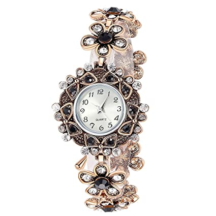 Navion Women's Luxury Vintage Flower Rhinestone Watchcase Bracelet Watch Black