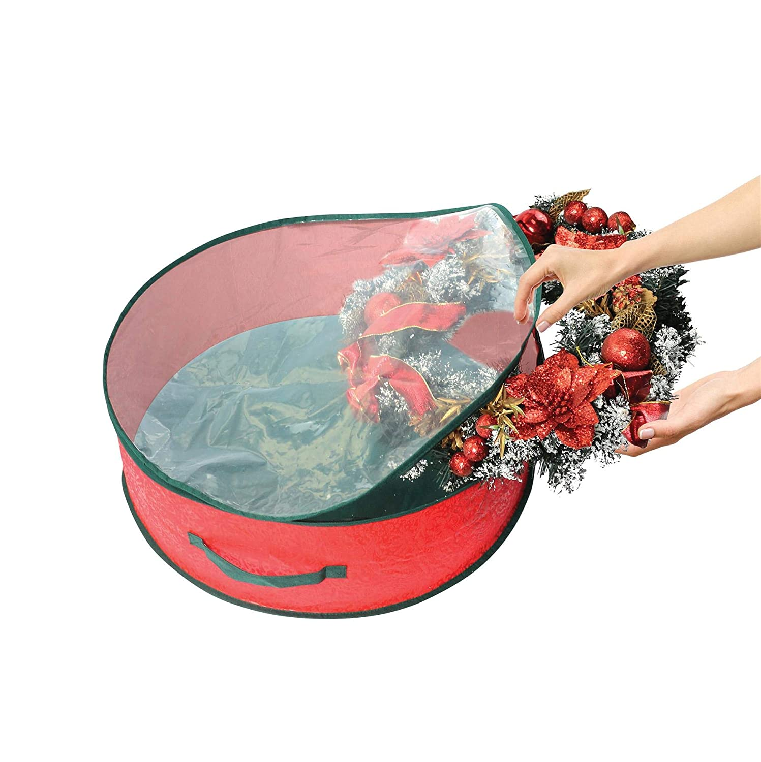 iTrend Christmas Wreath Decorations Storage Bag Round and Clear with Zipped Cover Carry Handles