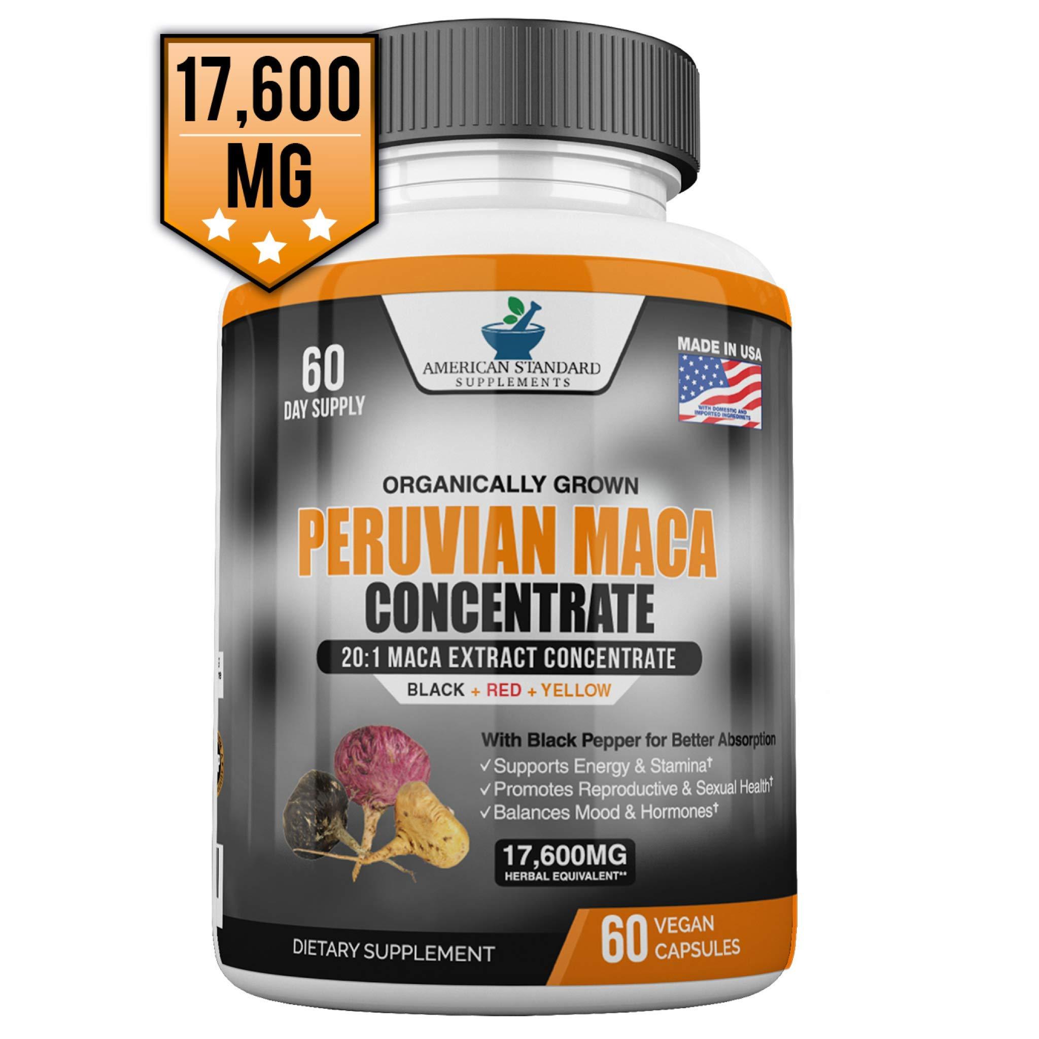 Maca Organic Peruvian Powder Capsules - 17,600 mg Per Capsules - Black, Red, Yellow Root with Black Pepper Extract, Increase Energy, Stamina, Libido Mood, Hormone for Men & Women, 60 Vegan Capsule