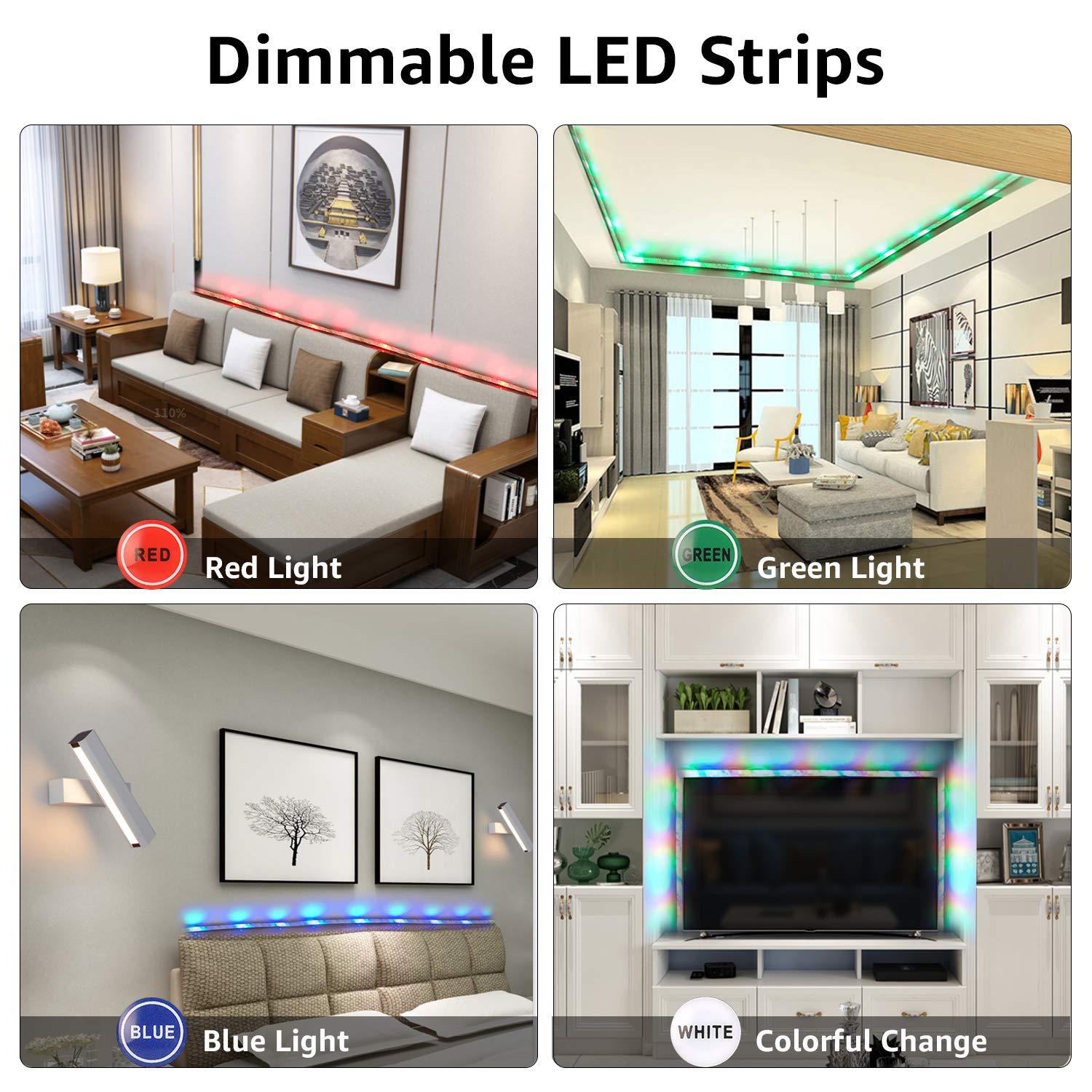 LED Strip Lights, HeySuun 32.8FT/10M 20Key RGB Light Strips, Music Sync Color Changing, Rope Light 600 SMD 3528 LED, IR Remote Controller Flexible Strip for Home Party Bedroom DIY Party Indoor Outdoor by HeySuun (Image #3)