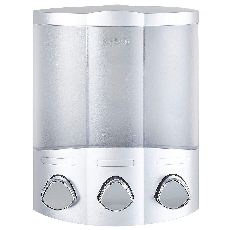 White New Euro Series TRIO Three Chamber Soap and Shower Dispenser