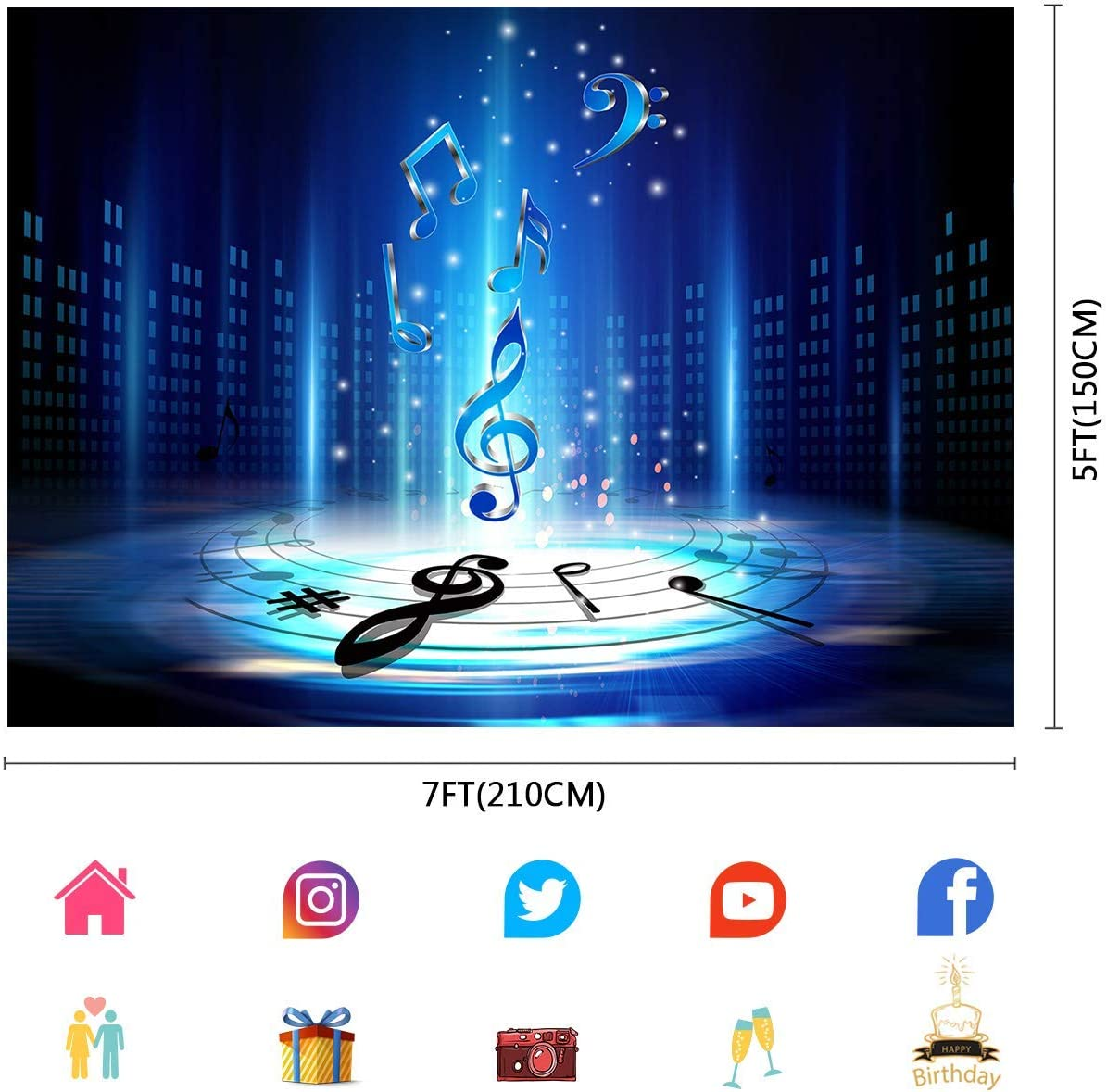 10x8ft Music Note Photo Backdrop Stage Music Show Photography Booth Backdrop Children Photos Props LYFU677