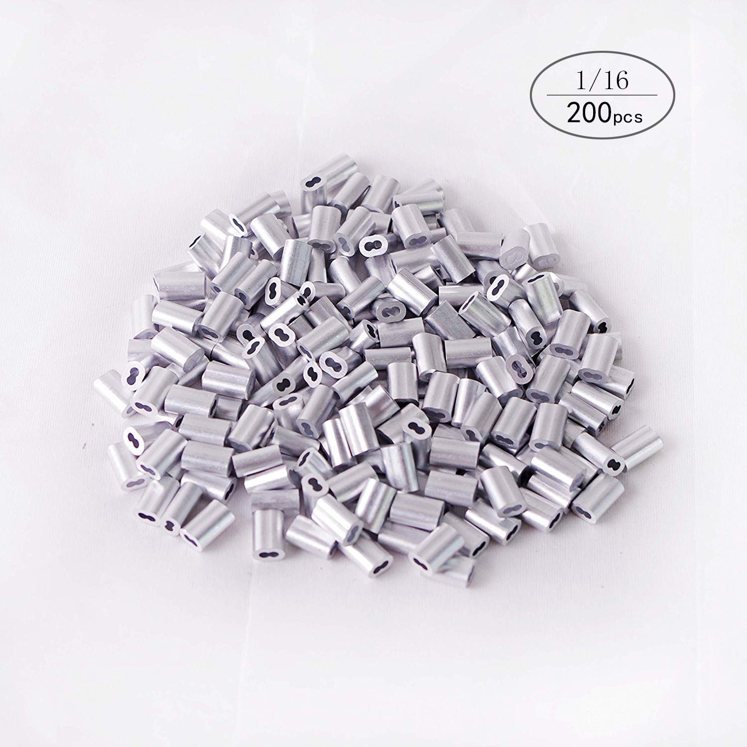 Aluminum Crimping Loop Sleeve for 1/16'' Diameter Wire Rope and Cable (1/16'' 200PCS)