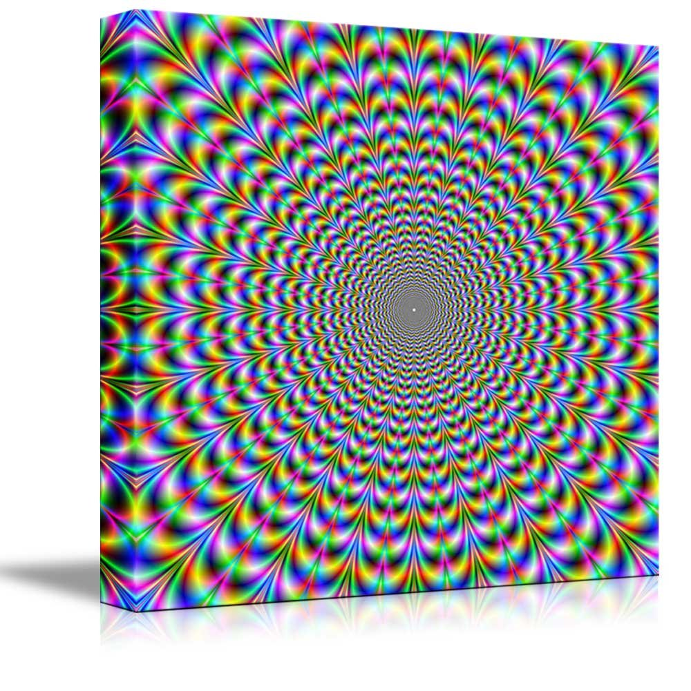 wall26 16 x 16 Canvas Prints Wall Art Holographic Optical Illusion Spiral Rainbow Modern Wall Decor//Home Decoration Stretched Gallery Canvas Wrap Giclee Print Ready to Hang