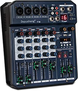 Depusheng T6 Portable 6-Channel Sound Card Mixing Console Audio Mixer Built-in 16 DSP 48V Phantom Power Supports BT Connection MP3 for Computer Recording, Bands