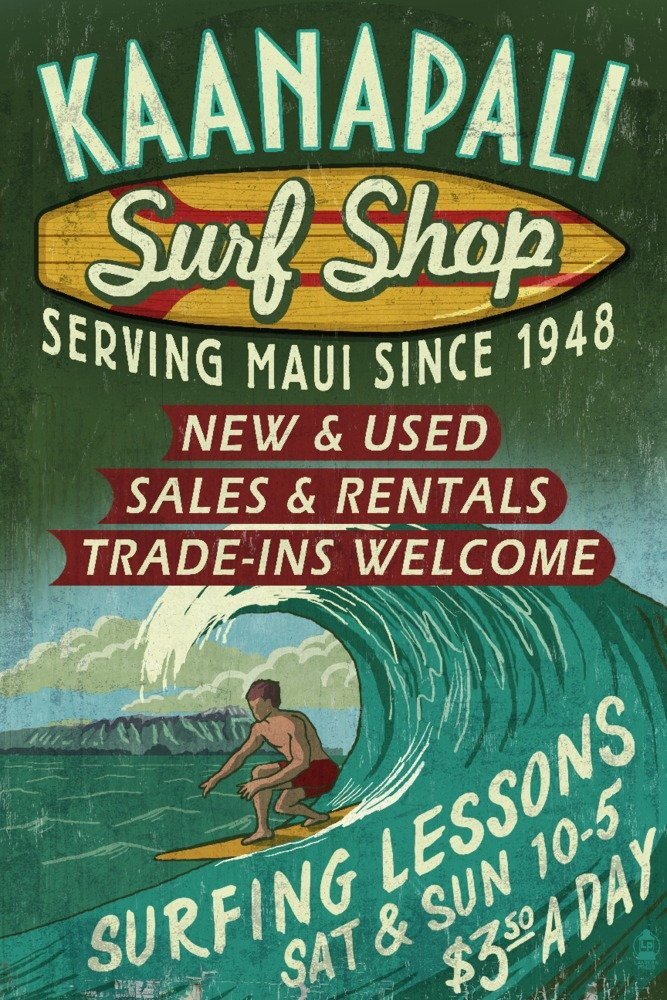 新着商品 kaanapali、ハワイ 12 – Surf Shop Vintage Sign Canvas Print Tote Print Bag LANT-57039-TT B017Z76CWK 12 x 18 Art Print 12 x 18 Art Print, ハヤック21/オルゴール:595eb047 --- martinemoeykens.com