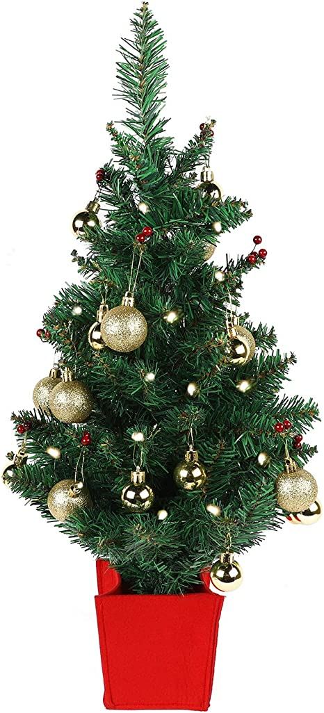 for Tabletop Desk Battery Operated w// Warm Lights Artificial Pre Lit Trees Mini Christmas Tree Holly Miniature Xmas Centerpiece Gold Ornaments 22 Inch Fake Decor White LED Lights Office