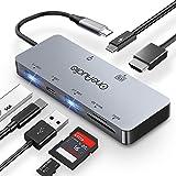 OneAudio USB Type C ハブ 7in1 USB C ハブUSB3.0ポート HDMI出力 4K対応 PD給電 TF/SDカードリーダー MacBook/type-cパソコン 対応