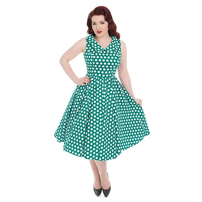 Hearts & Roses Londres Verde Blanco Lunares Vintage Retro 1950s de Campana Vestido de Tarde -