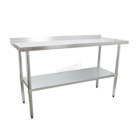 WestWood Stainless Steel Commercial Catering Table With Backsplash Work  Bench Food Prep Kitchen Top 2FT X