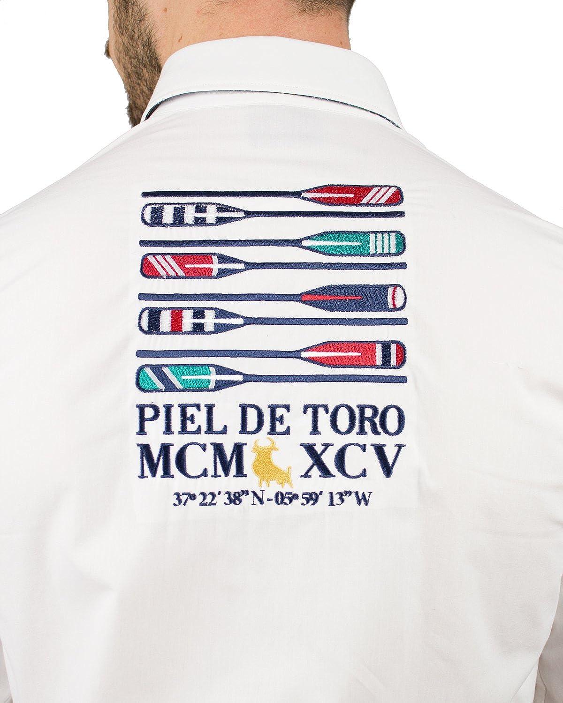 Piel de Toro Regular FIT Bordados Remo Camisa Casual, Blanco ...