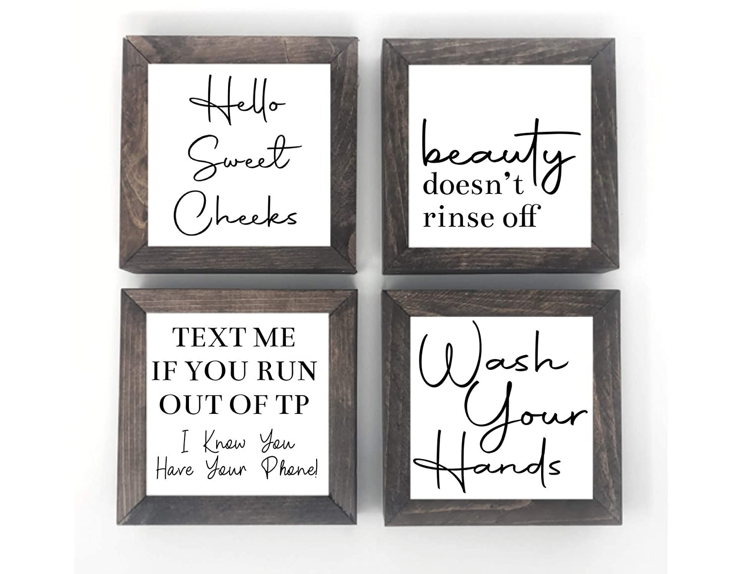 Amazon Com Farmhouse Bathroom Sign Set Hello Sweet Cheeks Beauty Doesn T Rinse Off Text Me If You Run Out Of Tp Wash Your Hands 6 Inch Handmade