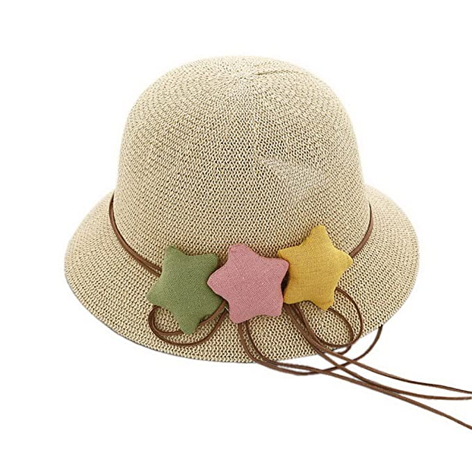 8a333bb3e7b9cb Image Unavailable. Image not available for. Color: Gentle Meow Star Toddler  Straw Summer Sun Beach Hats Kids Travel Broad-brimmed Hat Beige