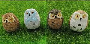EMiEN 4pcs Owl Fairy Garden Miniature Ornaments, Miniature Figurines, Fairy Garden Accessories, Fairy Garden Supplies, Micro Landscape, Plant Pots, Bonsai Craft Decor