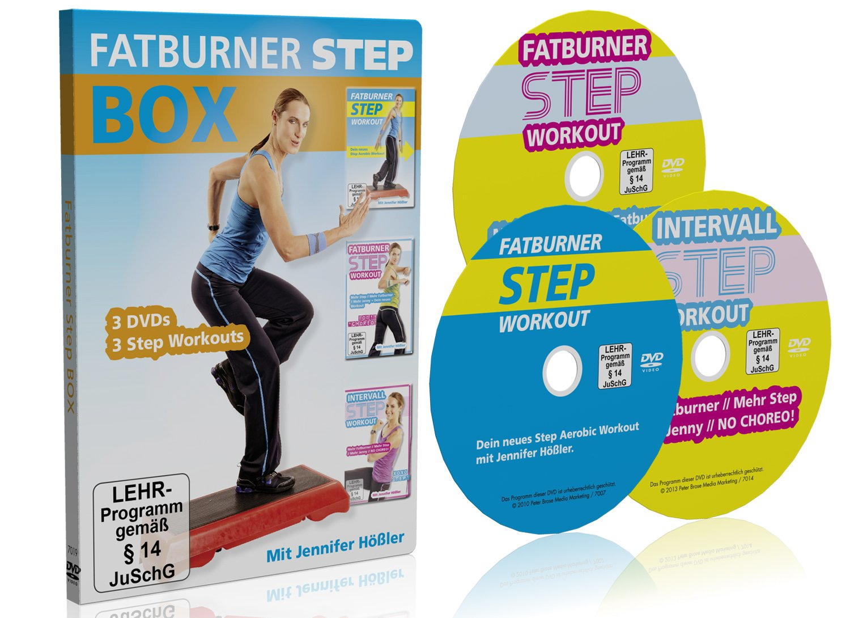 Die große Fatburner Step Box / 3 DVDs / 3 Step Aerobic Workouts bei amazon kaufen