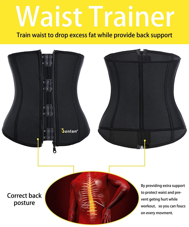 79c165682 Amazon.com   Junlan Women Weight Loss Waist Trimmer Trainer Belt Sauna  Neoprene Workout Corset Body Shaper Tummy Ab Cincher Shapewear   Clothing
