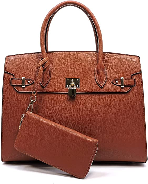 fac509212641 Amazon.com: Deluxity Large Padlock Accent Structured Day Satchel + ...