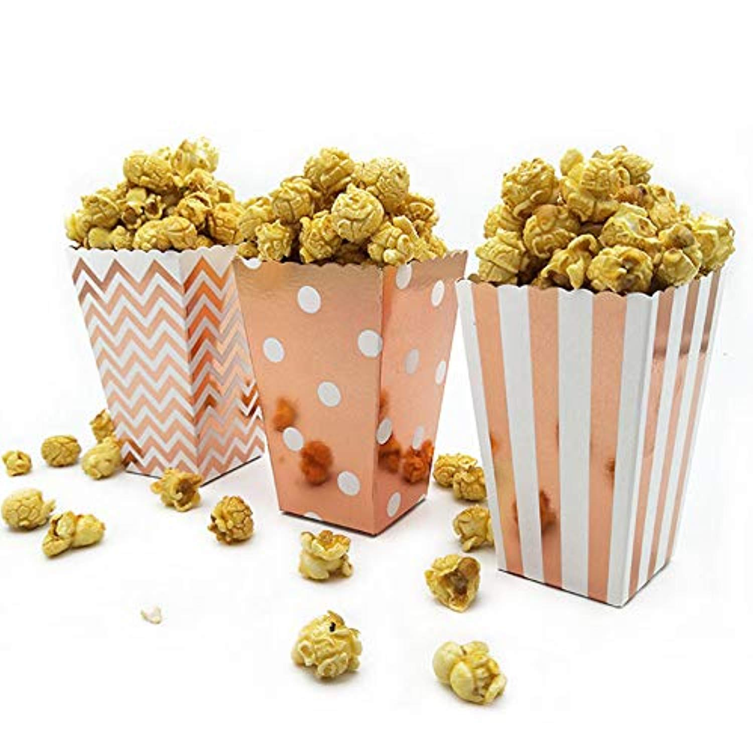 Mini Poprcorn Boxes 100 Pack Rose Gold Paper Popcorn Snack Containers Treat Box for Wedding Party Bridal Shower Birthday Movies by BALANSOHO (Image #2)