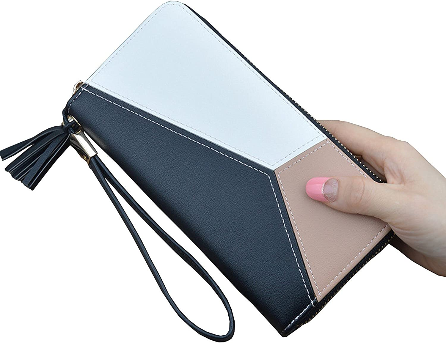Colorful Unicorn Womens RFID Blocking Zip Around Wallet Genuine Leather Clutch Long Card Holder Organizer Wallets Large Travel Purse