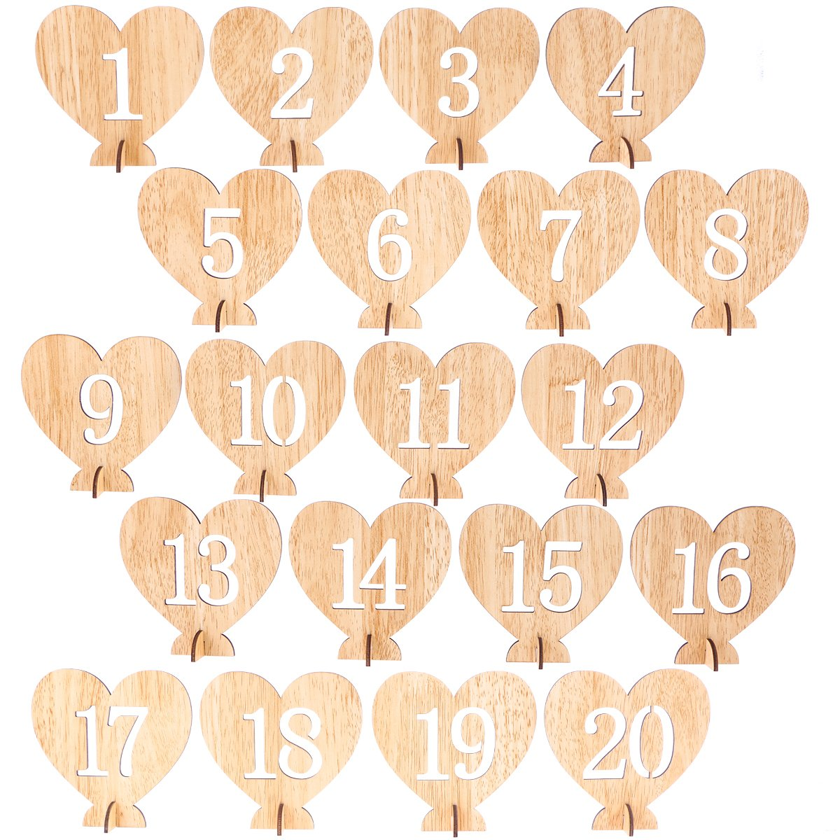 BESTOYARD 20pcs 1-20 Wooden Table Numbers with Holder Base Heart Shape Table Numbers for Wedding Table Decoration