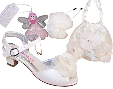 01f4576ac Girls Childrens Ivory Sparkly Low Heeled Sandals, Hair Accessory, Gift and  Bag Bridesmiad Set