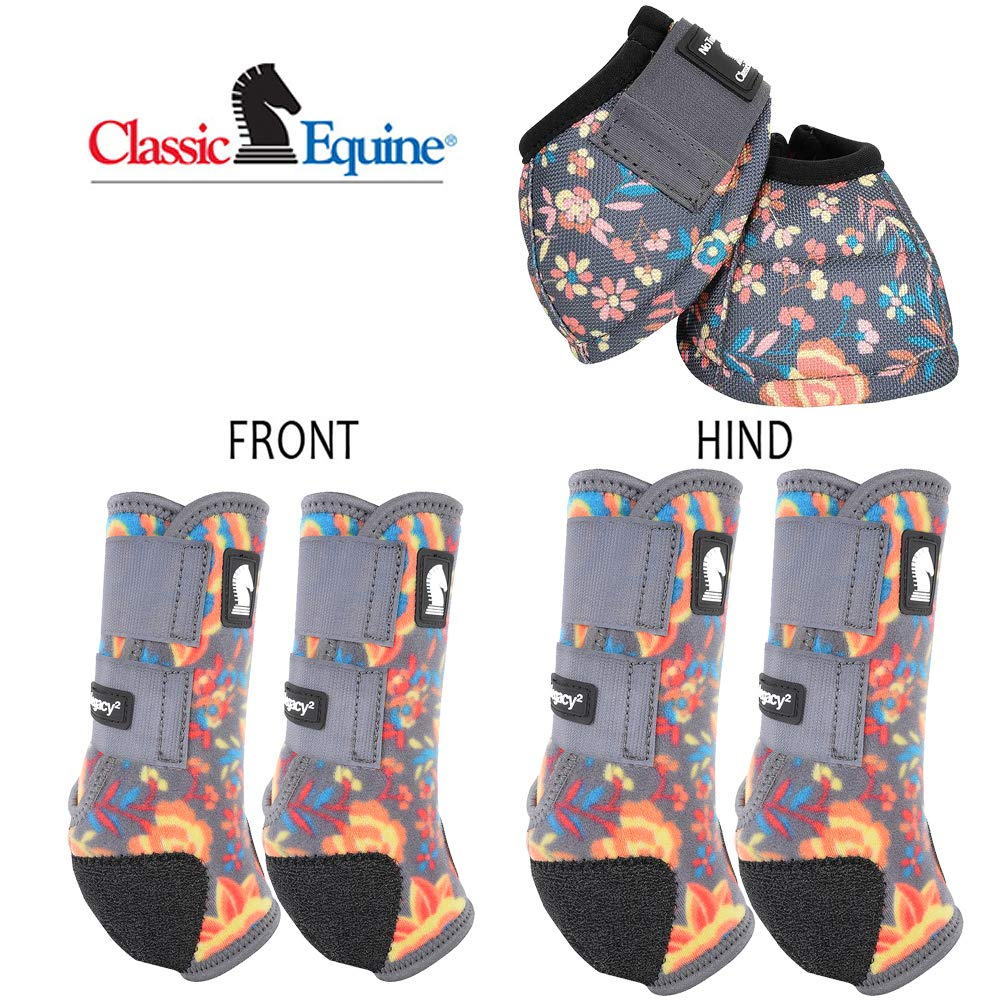 Classic Equine Lrg Legacy2 Horse Front Hind Sports Boots Bell 6 Pack Wildflower