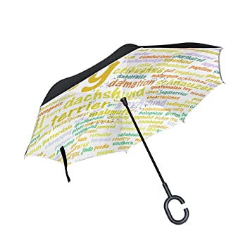 coosun todos los tipos de perros alfabeto doble capa paraguas invertido Reverse paraguas para coche y