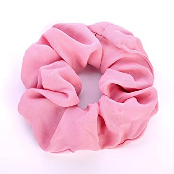 IKevan Summer Floral Hair Scrunchies Bun Ring Elastic Fashion Sports Dance Scrunchie (Pink)