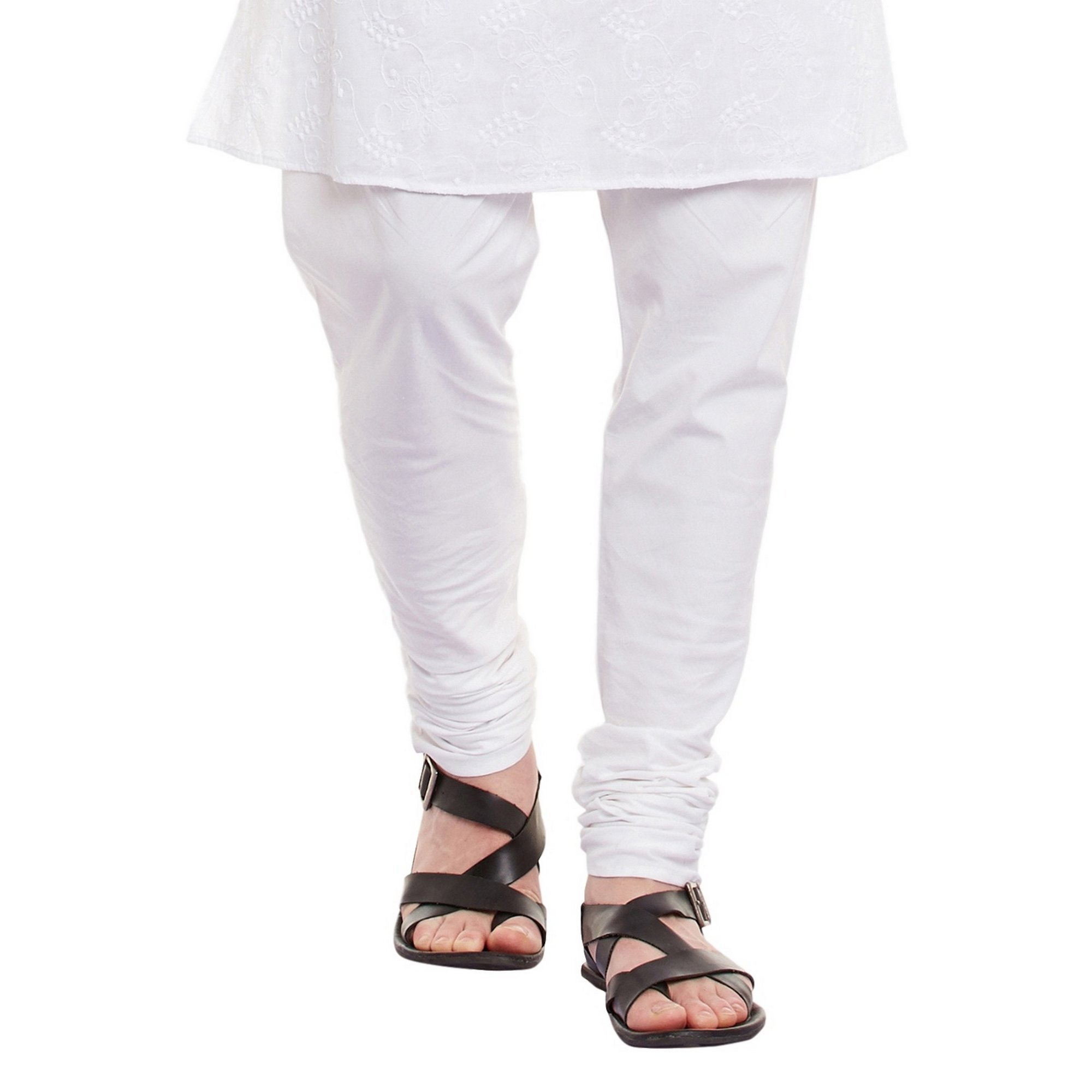 ShalinIndia Mens Embroidered Cutwork Cotton Kurta With Churidar Pajama Trousers Machine Embroidery,White Chest Size: 42 Inch by ShalinIndia (Image #6)