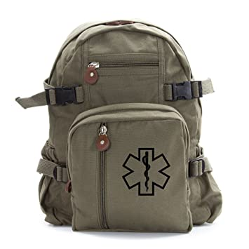 2c796a3f08963b Image Unavailable. Image not available for. Color: Star of Life Medical  Logo Army Sport Heavyweight Canvas Backpack Bag ...