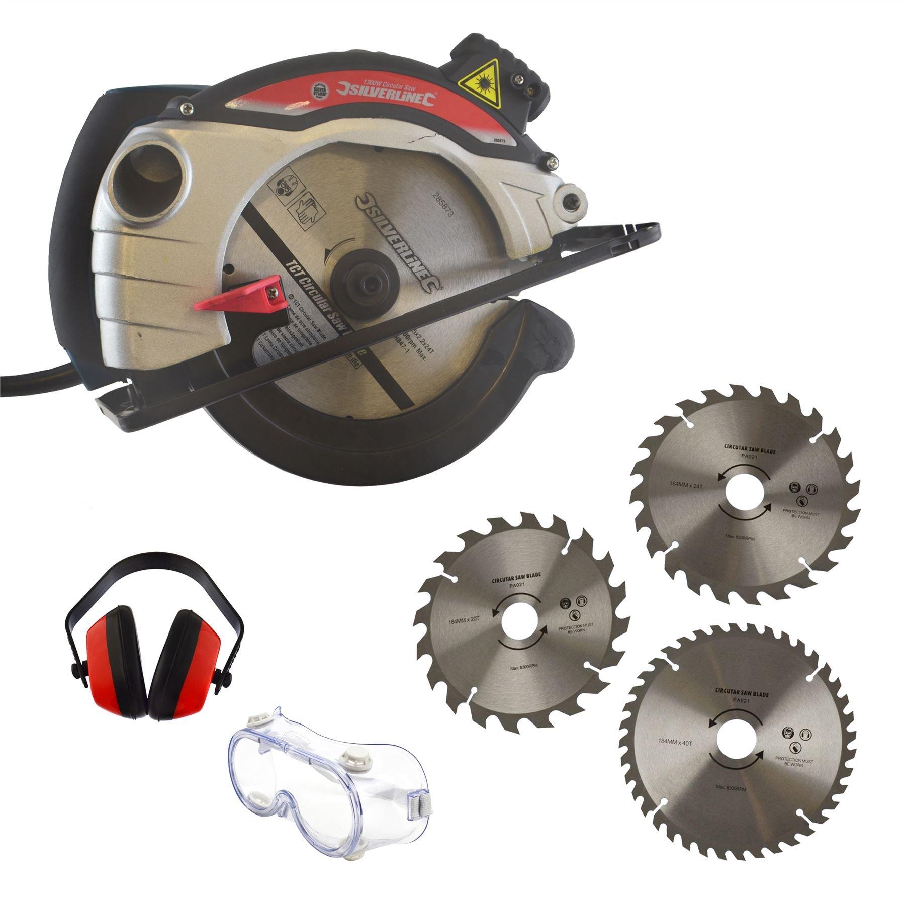 1300w Circular Saw 185mm Blade & 3 Spare Blades / Ear & Eye Safety Protection