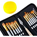 Paint Brush Set, LEOKOR 15 Pcs/Set Art Acrylic Oil Watercolor Face Painting Artist Paint Brushes with Mixing Knife and Sponge for Kids & Adults