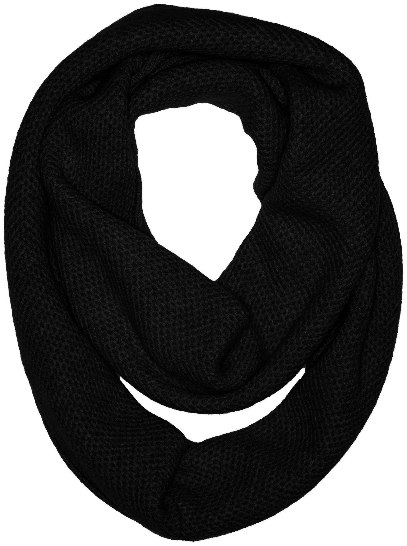 Sofia Cashmere Women's 100 Percent Cashmere Honeycomb Infinity Scarf, Black, One