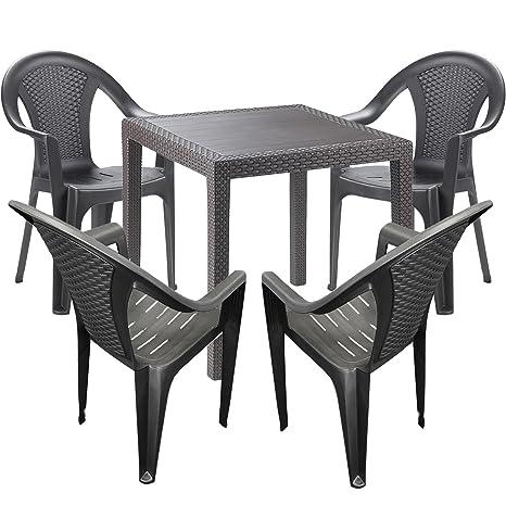 Mobili da giardino - 5 pezzi - tavolo da giardino plastica 79 x 79 ...