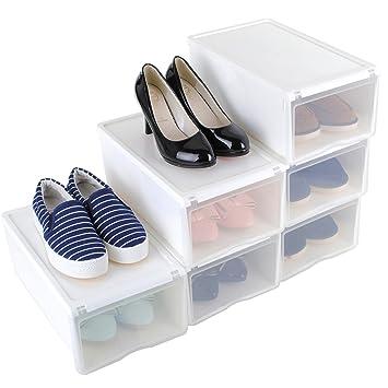 Schuh Aufbewahrung stapelbar schuhbox transparent 6er set schuhboxen schuhschachtel