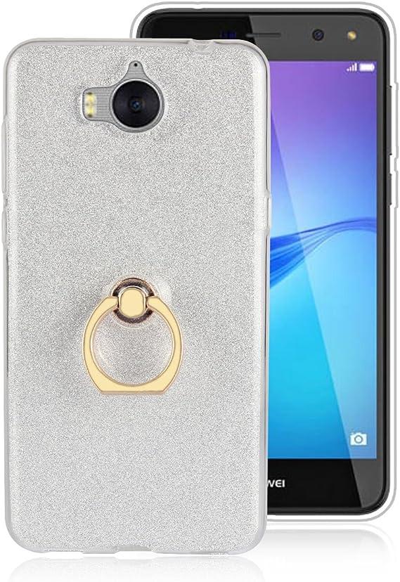 Sunrive Custodia per Huawei Nova Young/Huawei Y6 2017, Trasparente Custodia Cover TPU con 360 Gradi di Rotazione dell'anello Cavalletto Carta Ultra ...