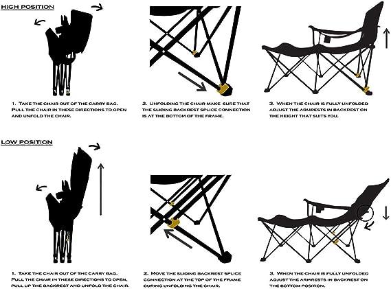 c/ómoda Silla Plegable con Capacidad de Carga de hasta 300 lbs NOBRAND Silla Plegable Silla Plegable con portavasos tapizado y Bolsa de Transporte Silla de Playa