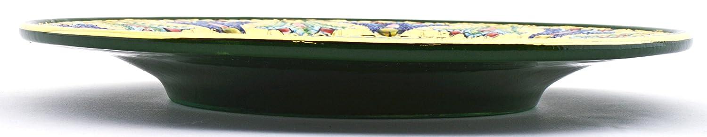 Art Escudellers Plato/Plato Pared Ceramica Pintado a Mano con Oro de 24K, Decorado al Estilo BIZANTINO Verde. 25,5cm x 25,5cm x 3cm: Amazon.es: Hogar
