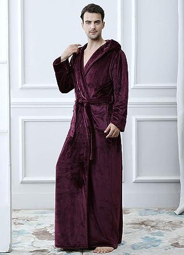 Men Winter Long Dressing Gown Fleece Bathrobe with Hood M Red Blue Spa Robe  Boys Full Length Fluffy Towelling Robe Nightwear Soft Warm Flannel Night  Robe ... 1cd7efc86