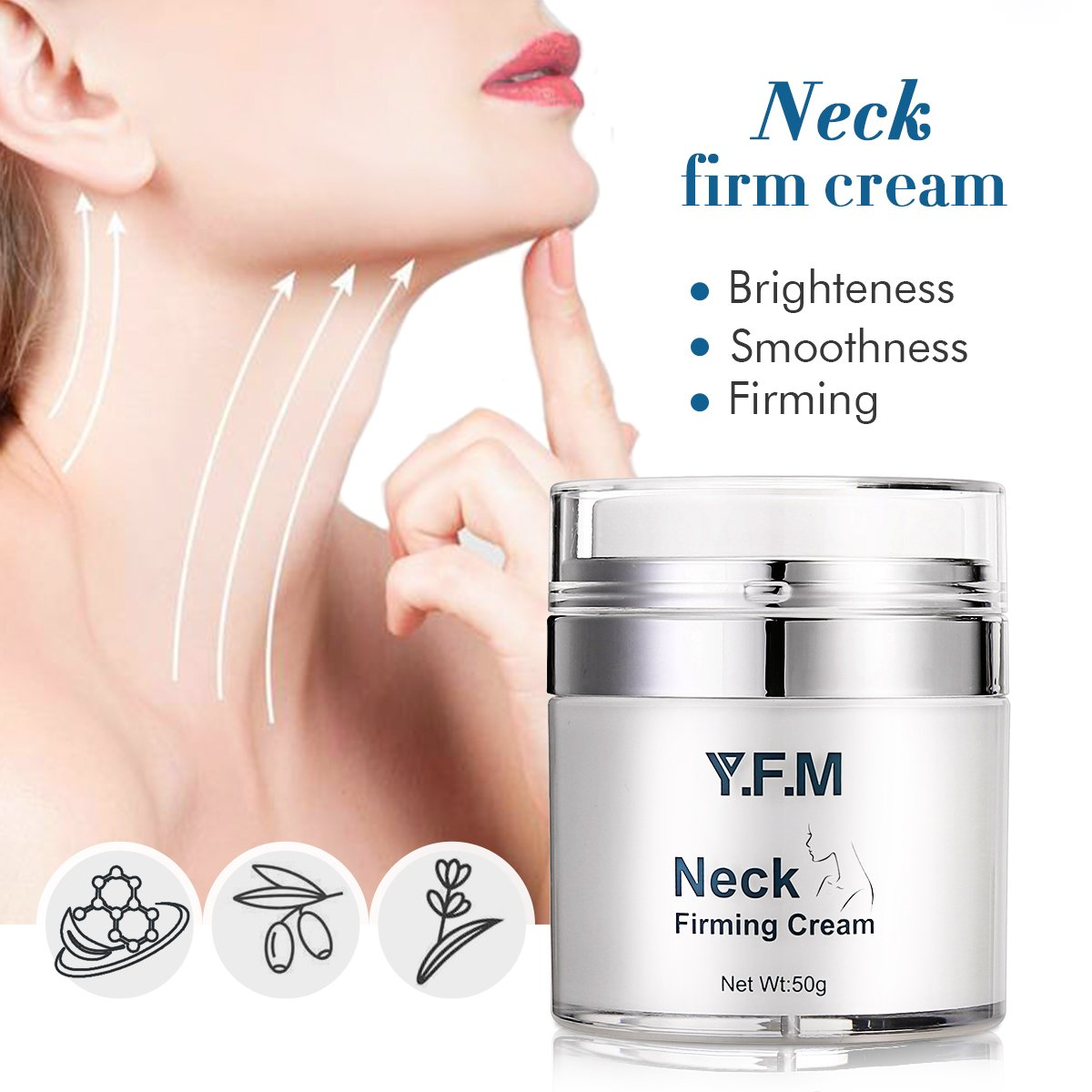 Neck Firming Cream, Y.F.M Anti Aging Moisturizer for Neck, Skin Tightening & Lifting Cream, Advanced Anti-wrinkle Complexes, Work on Loose, Wrinkeld and Sagging Skin Luckyfine