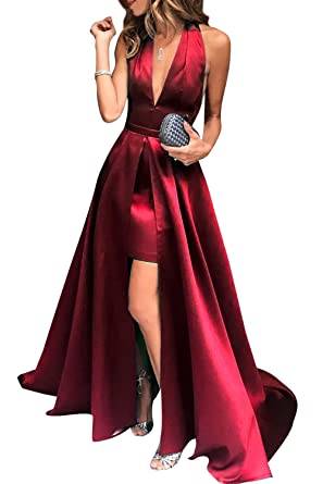 Prom Dresses 2018 High-Low Halter V-Neck Open Back Satin Formal Evening Gowns