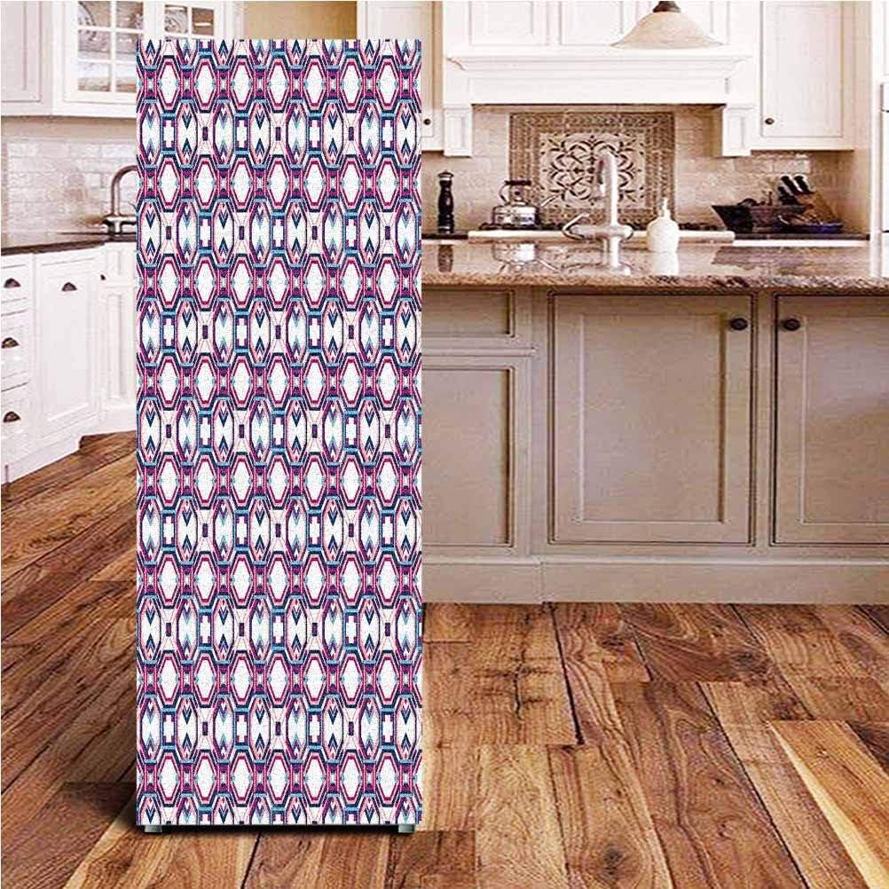 Angel-LJH Geometric 3D Door Fridge DIY Stickers,Hexagonal Diagonal Squares Digital Featured Artistic Modern Door Cover Refrigerator Stickers for Home Gift Souvenir,24x59