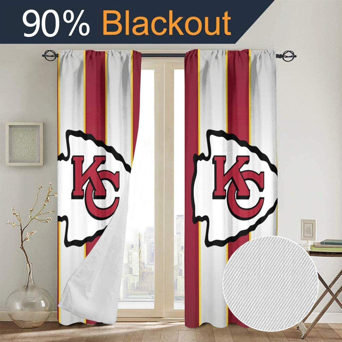 ALHOKLAus Kansas City Chiefs Stylish Bedroom Curtains, Blackout Curtains, All-Season Insulated Children's Room Blackout Curtains/Curtains (Wearing Rod Type) 52inch x 72inch