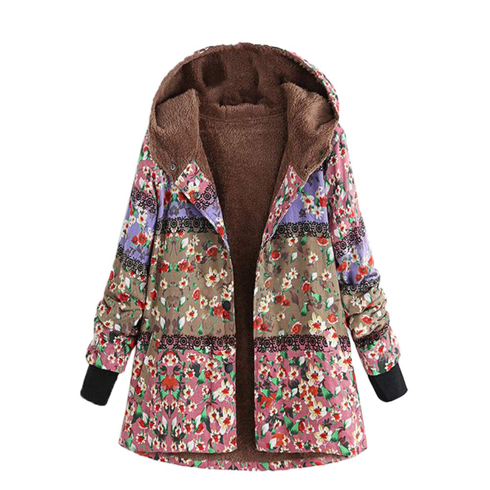 DEATU OUTERWEAR レディース B07KT4P697 Large ピンク ピンク Large